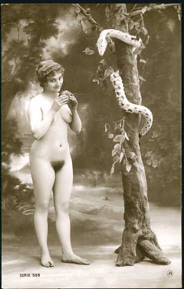 http://commons.wikimedia.org/wiki/File%3AFrench_erotic_postcard_-_Eve_being_tempted_to_eat_the_forbidden_fruit.jpg