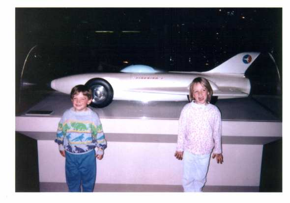 Aidan and Maggie at the U.S. Space and Rocket Center, Huntsville, AL, mid 1990's.