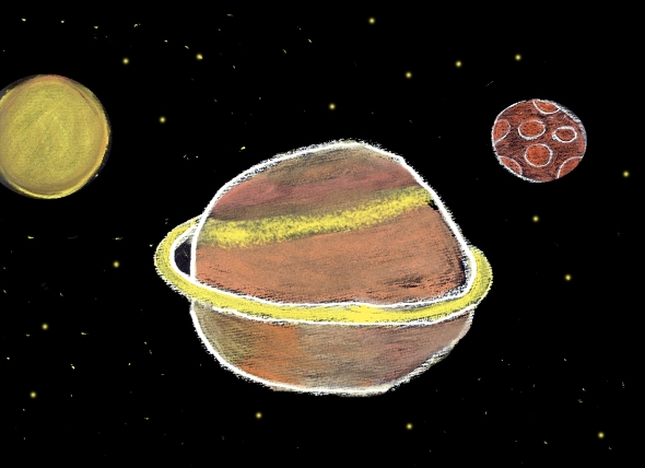 Planet Jupiter and Its Moons by Sofia di Tona, Age 11.  All drawings courtesy http://www.spacetelescope.org/kidsandteachers/drawings/