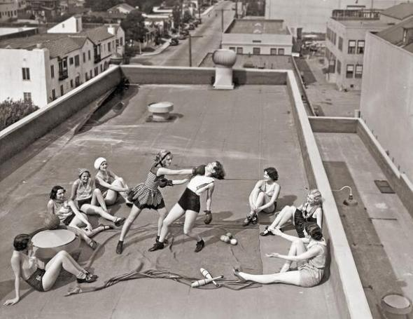 Women Boxing on a Roof, circa 1930s. Courtesy HistoryPics