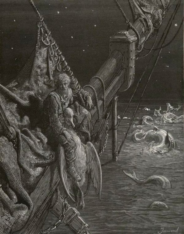 Gustave Dore's Illustration of the Ancient Mariner with Watersnakes