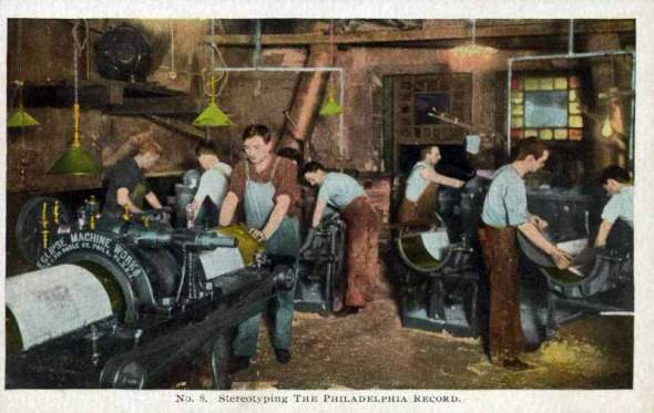 Stereotype Printing. Image Courtesy of Metropolitan Postcard Club of New York City