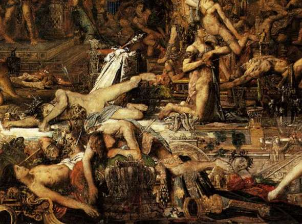 A Pile of Dead Young Men. Detail from The Suitors by Gustave Moreau c. 1851-1852.  Musée Gustave-Moreau, Paris.