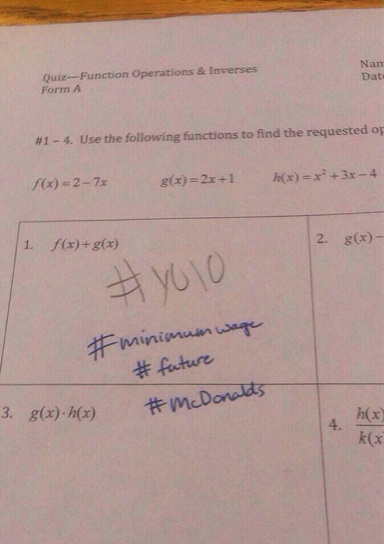 This is what happens when you write #YOLO on a Math Quiz