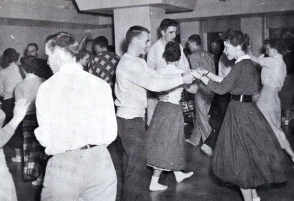 Kennedy Hall Lounge  Sock Hop 1957 Courtesy Dakota State University Archives