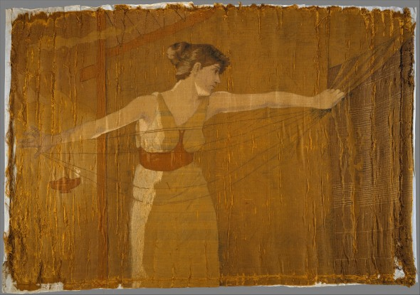 """Penelope Unraveling Her Work at Night"" - Dora Wheeler (1856–1940).  Silk embroidered with silk thread. Courtesy Metropolitan Museum of Art"