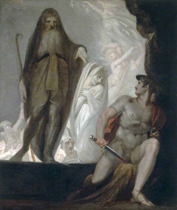 Anticlea waits her turn while Tiresias foretells the future to Odysseus; Henri Fuselli, c. 1800. Courtesy National Museum Wales, National Museum Cardiff, and the BBC.