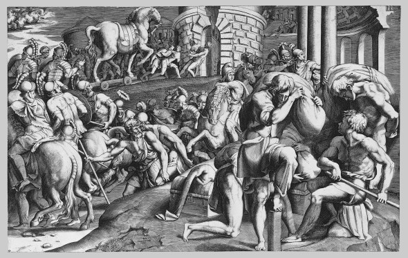 The Trojans Pulling the Wooden Horse into the City. Engraving,  Giulio Bonasone, 1545. Courtesy Metropolitan Museum