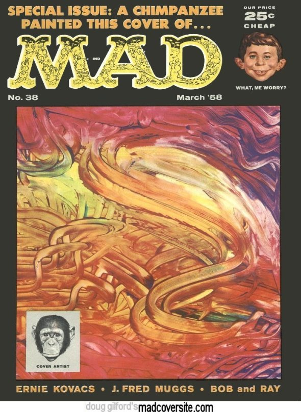 The first and last piece of cover art J. Fred Muggs did for MAD Magazine.  Muggs bit editor Al Feldstein, and never worked for Mad again.