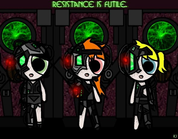 I believe the Powerpuff Girls have been assimilated...Via knalljaas at deviantart.com