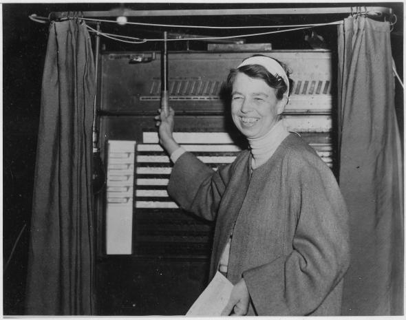 Eleanor Roosevelt Votes in Hyde Park, 1936