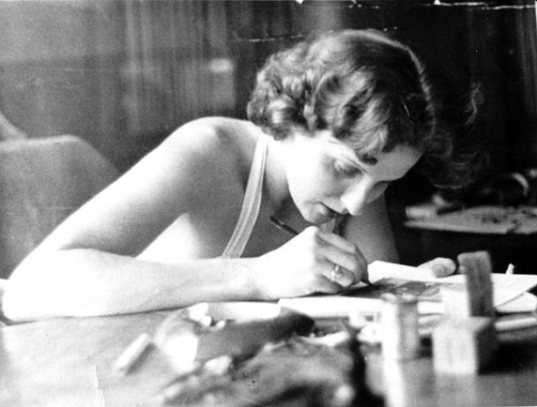 Alice P. Sheldon, aka James Tiptree, Jr., working on her post for #MondayBlogs