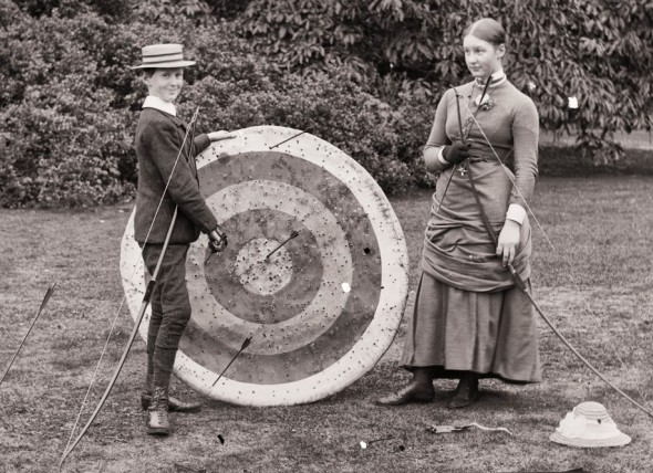 Robert Edward Dillon and his sister Georgiana, practicing archery, County Galway, Ireland, 1883. Courtesy Flickr Commons.