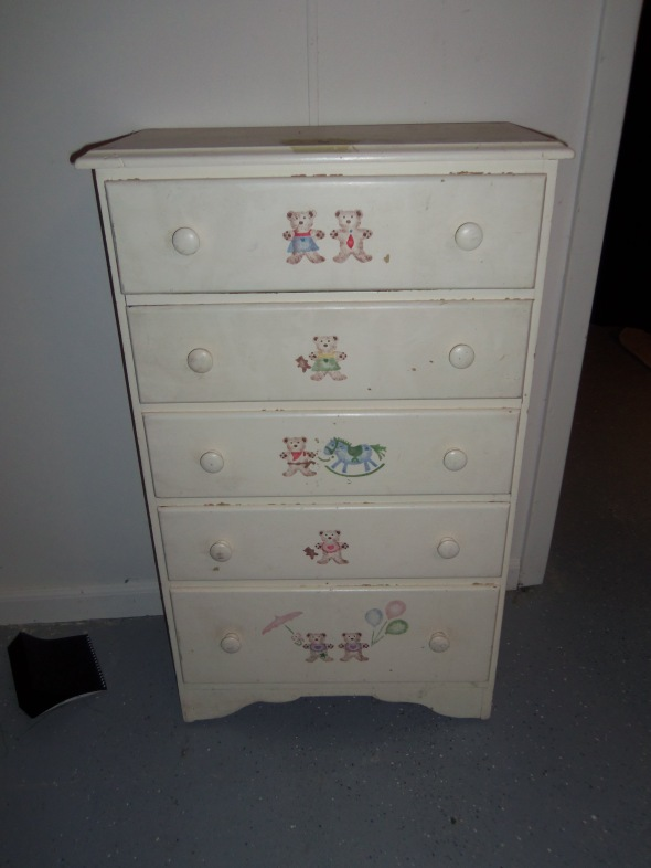 A dresser my father painted and my sister stenciled. One of the things I could not take with me.