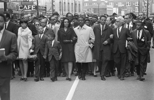 Coretta Scott King (5th-R) leads a
