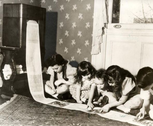 Children Reading a Wireless Faxed Newspaper, 1938