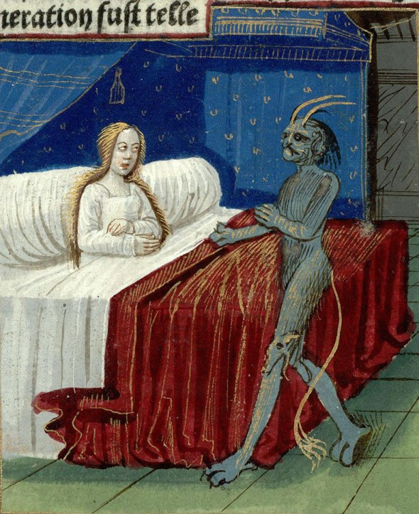 (Technically, this is a 15th century illustration of  the conception of Merlin - but you get the idea.