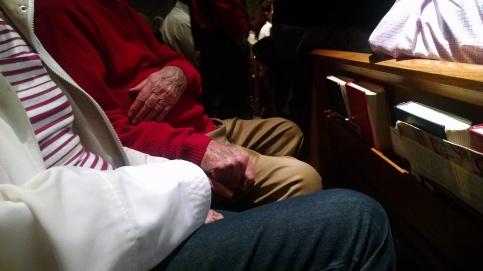 Mis padres en la iglesia, el domingo de Pascua de 2015