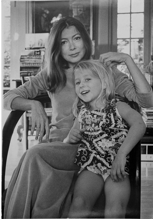 Joan Didion at home with her daughter Quintana Dunne, 1974Photography by Julian Wasser