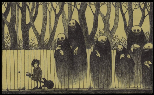 Post-It Note Nightmare by Jon Kenn.  See this and other pictures here, and an interview with the artist here.