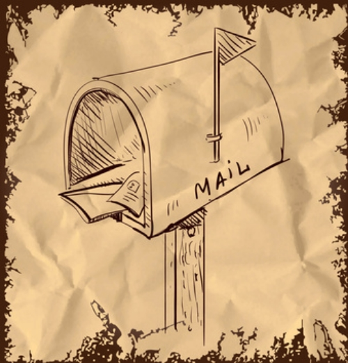 Mailbox cartoon icon isolated on vintage background