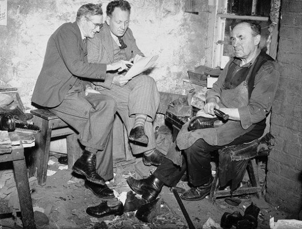 Evan Jenkins and David Jones, two folk poets from Ffair Rhos, discussing their poems in a cobbler's workshop, Courtesy National Library of Wales, via Flickr Commons
