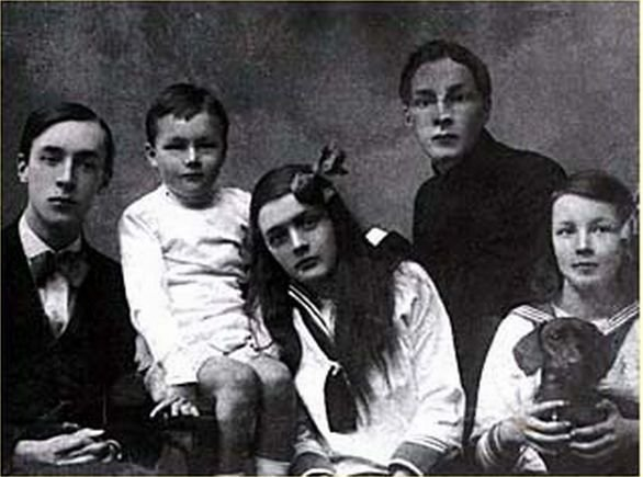 Vladimir Nabokov and his siblings Kirill, Olga, Sergey, and Elena. A photograph taken for their mother in 1918, a year after the Russian Revolution.