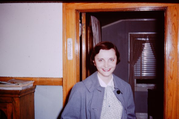 My mother going into the hospital, the night before I was born. Contractions or no contractions, there would be lipstick.