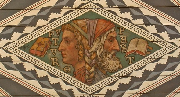 Detail of the painted ceiling in Waltham Abbey depicting the two faced god Janus