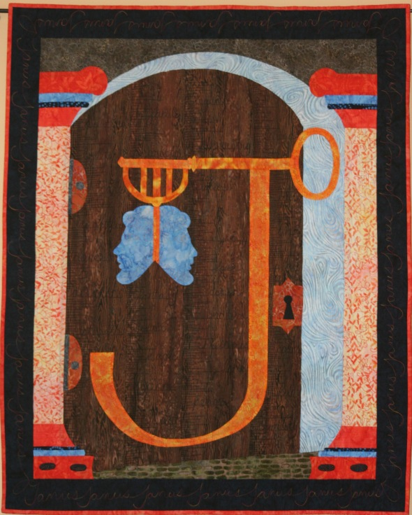 The Janus Gate. One of the beautiful quilts of Swan Sheridan. (You can see a real Roman ceremonial gate in the video below.)