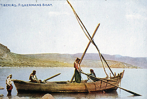 Fisherman's Boat, on the Sea of Galilee. Postcard circa 1920. Not much different from the boats used by Peter, Andrew and John.