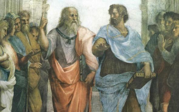 Plato and Aristotle. Detail from Raphael's fresco The School of Athens, 1511, the Vatican