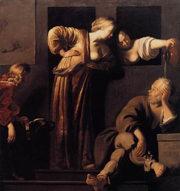 Socrates, his Wives and Alcibiades, by Reyer van Blommendael