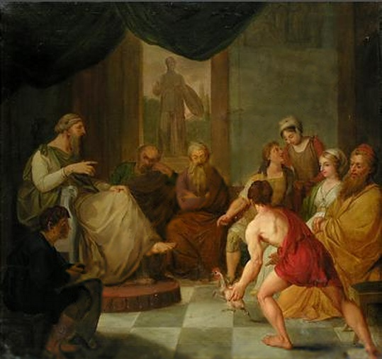 Young whippersnapper of a Diogenes confronting Plato. The Internet seriously does not seem to know who painted this. Maybe you do.