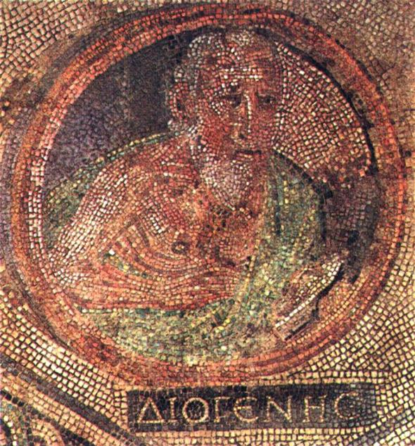 Mosaic of the Cynic philosopher Diogenes of Sinope sitting in his tub. From a Roman villa in Cologne, Germany; now in the Römisch-Germanisches Museum, 2nd or 3rd century AD