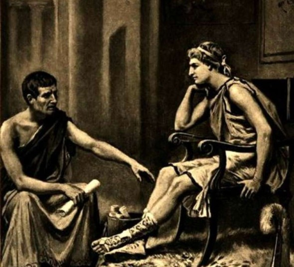 Aristotle tutoring Alexander, by Jean Leon Gerome Ferris