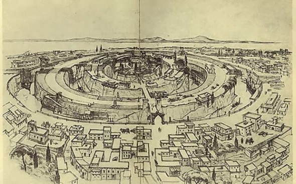 Reconstruction of the capital of Atlantis according to Plato's description, drawn by Walter Heiland. Albert Herrmann, Unsere Ahnen und Atlantis. 1934. Courtesy Old World Mysteries.