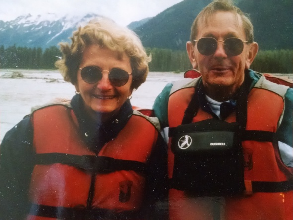 "Except when she went by raft. On the back of this picture, in my mother's clear print, ""7/10/97 - Rafting down the Tsirku River to Chilkat Bald Eagle Preserve near Haines, Alaska"""