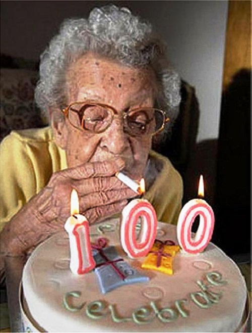 Jeanne at 100. One of the few cakes that was not chocolate.