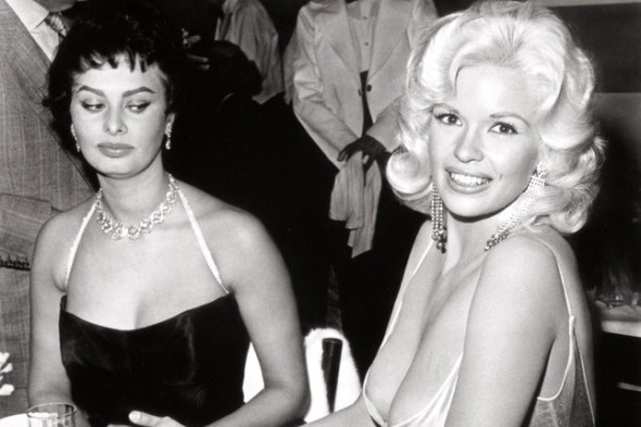 Sophia Loren apparently waiting for Jayne Mansfield to have a wardrobe malfunction...