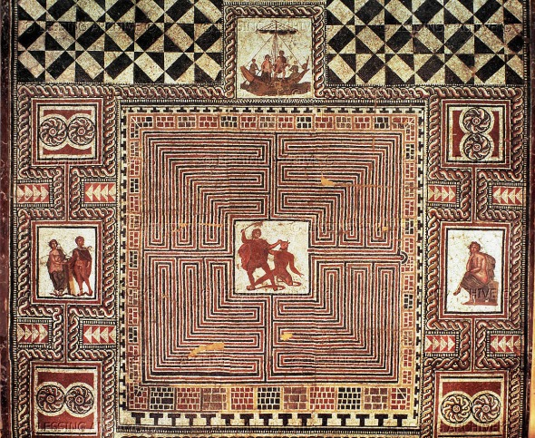"""Theseus-Mosaic"", floor mosaic from a Roman villa, Loigersfelder near Salzburg, Austria. Right, Ariadne hands Theseus the ball of wool to help him; center: Theseus kills the Minotaur; top:Theseus and Ariadne aboard ship: right: grieving Ariadne."