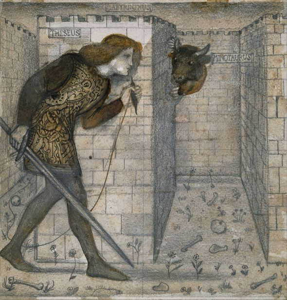 Edward Burne-Jones (1833–1898) Theseus and the Minotaur in the Labyrinth, c. 1861 Pencil, brown wash, pen and ink on paper. Birmingham Museum and Art Gallery